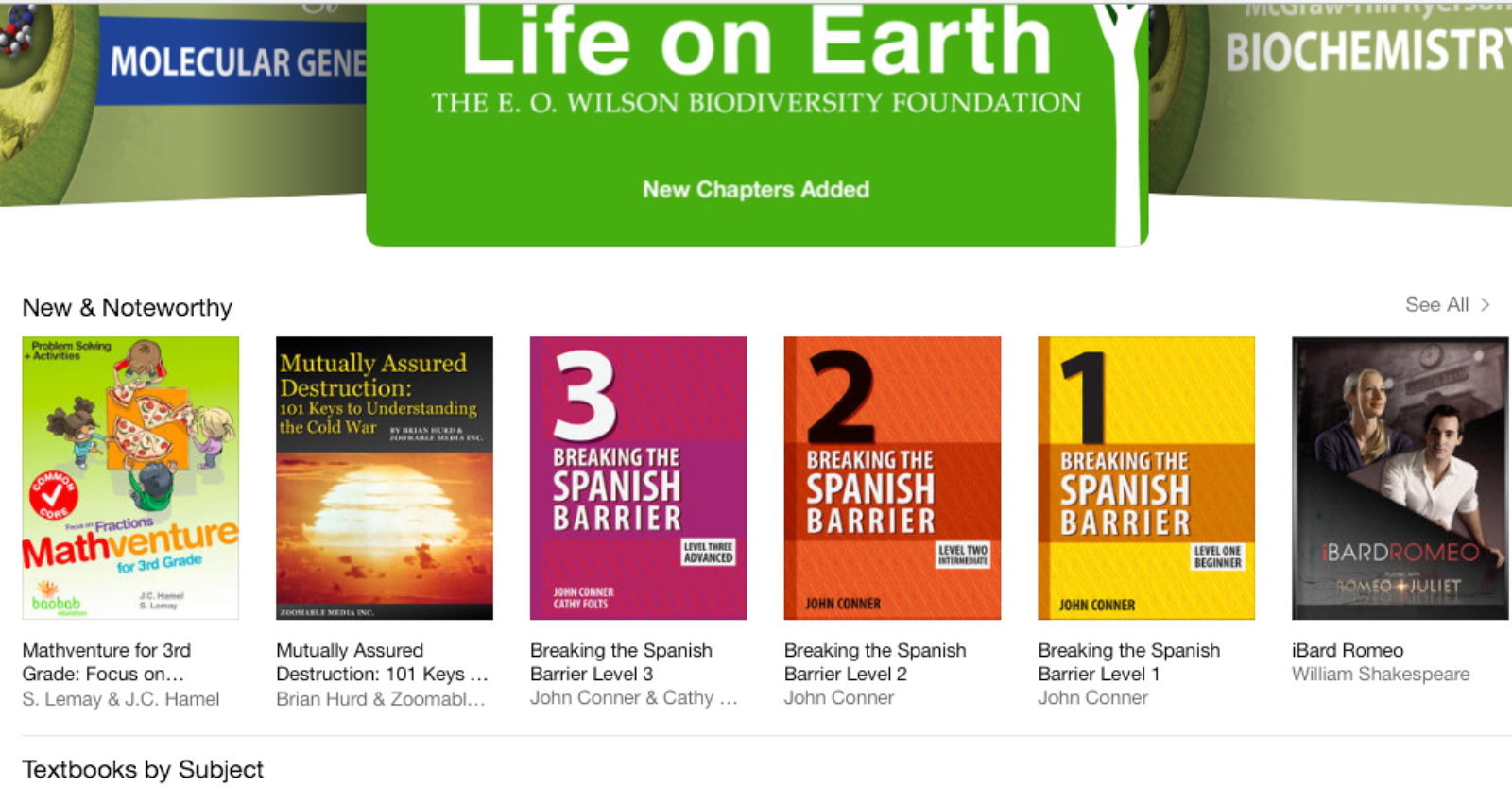 New and Noteworthy on iBookstore